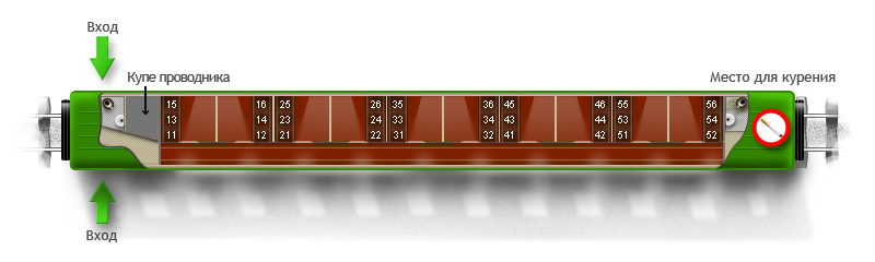 Трансформируется в две схемы. три места в купе).  Полки всегда расположены друг над другом, в варианте 1 класса...